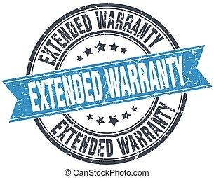 extended warranty blue round grunge vintage ribbon stamp