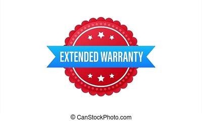 Extended warranty label or sticker. Badge, icon, stamp illustration