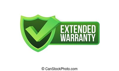Extended warranty label or sticker. Badge, icon, stamp Motion graphics