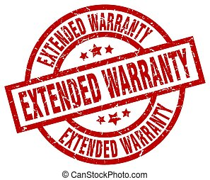 extended warranty round red grunge stamp