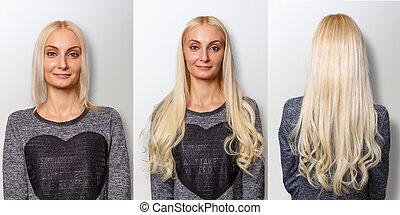 extensões cabelo, procedure., cabelo, antes de, e, after.
