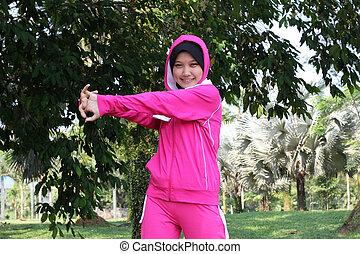 extensión, atleta, mujer, bastante, musulmán