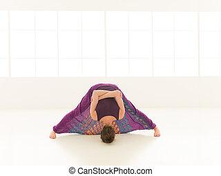 extensión, difícil, yoga, demostración, postura