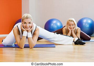 extensión, ejercicio de grupo, gente