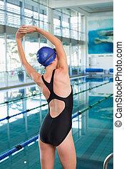 extensión, piscina, bastante, nadador