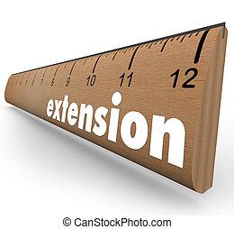 extensión, regla, medida, más, longitud, agregado, tiempo