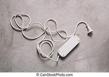 extension, blanc, électrique, câble