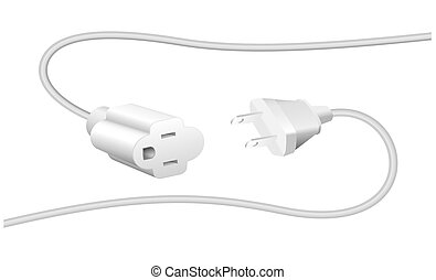 Extension cable and plug - NEMA connector %u2013 to connect electrical equipment. Isolated vector illustration on white background.