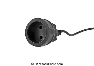 extension cable isolated on white background closeup