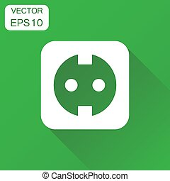 Extension cord icon. Business concept electric power socket pictogram. Vector illustration on green background with long shadow.