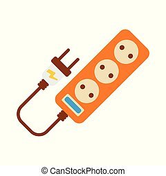Extension cord Icon. Energy label for Web on white background. Flat Vector Illustration.