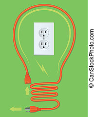 Extension Cord Light Bulb - Orange extension cord in the...