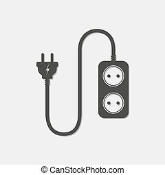 Extension cord - vector illustration. Icon of power extension cord. Simple black electrical socket.
