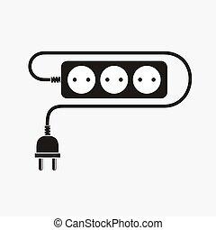 Extension cord - vector illustration.