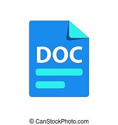 extension, doc., icône, bleu, fichier, format, vecteur
