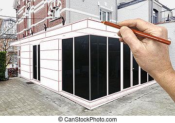 extension, nouvelle maison, dessin, planifié, moderne