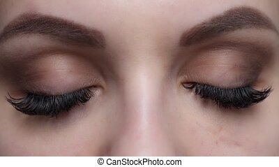 extension, ombre, oeil femme, cil, long, effect., haut, foyer., eyelashes., bleu, sélectif, fin, procedure.
