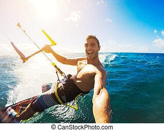 extereme, deporte, kiteboarding