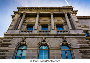 Exterior architecture at the Library of Congress, in Washington, DC.