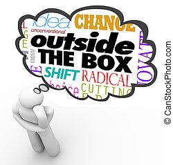exterior, caixa, pensando, pessoa, criatividade, inovação
