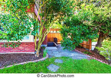 exterior casa, quintal, tijolo, vista., vermelho