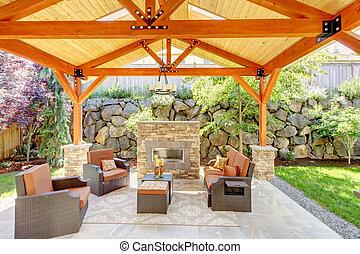 exterior, coberto, pátio, com, lareira, e, furniture.