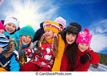 exterior, crianças, grupo, feliz