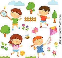 exterior, crianças, tocando