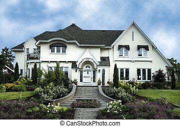 exterior, de, blanco, estuco, lujo, casa