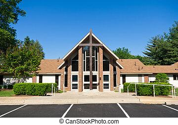 exterior, de, moderno, iglesia, con, grande, cruz