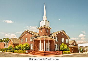 exterior, de, moderno, norteamericano, iglesia