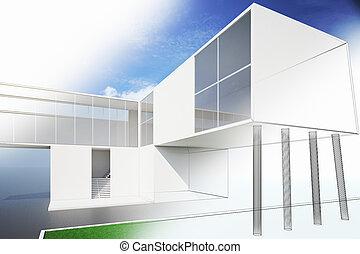 exterior, de, un, moderno, casa, plan, 3d, render