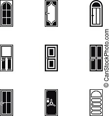 Exterior doors icons set, simple style