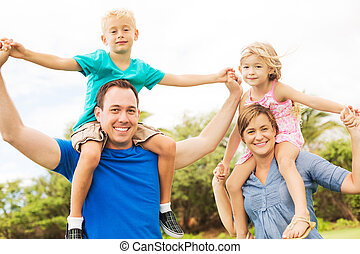 exterior, família, feliz