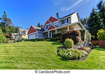 Exterior front of the large home. Northwest. America.