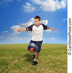 exterior, futbol, juego, niño