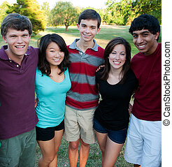 exterior, grupo, multi-ethnic, adolescentes