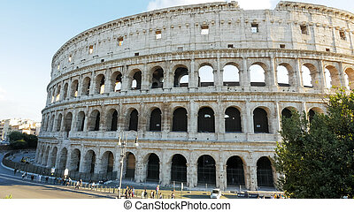 exterior high angle view of the colosseum in italy