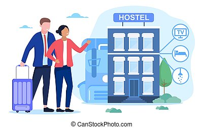 Hostel exterior for tourists. Inexpensive and cheap place to stay or overnight. Alternative home for some days. Room for relaxation. Flat cartoon vector illustration. Website, landing page template