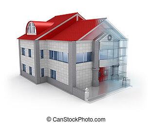 Exterior house design. Over white