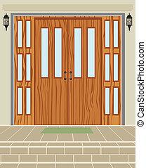 Exterior house wood door vector background
