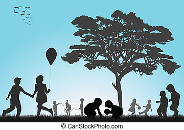 exterior, juego, siluetas, niños