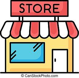 exterior., local, vecteur, gratuite, épicerie, awning., devoir, petit, bazarette, illustration affaires, showcase., isolé, magasin, couleur, retail., supermarché, rgb, boutique., centre commercial, icon.