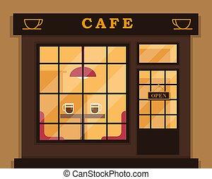 exterior., magasin, café, bâtiment., café
