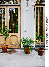 exterior., mignon, maison, flowers., beau, arrière-cour