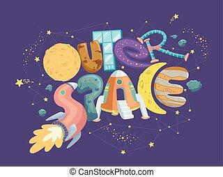 exterior, navio, espaço ilustração, lettering