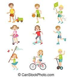 exterior, niños, conjunto, juego