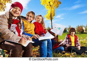 exterior, niños, dibujo