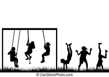exterior, niños jugar