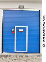 exterior of a blue door modern car wash. Cleaning concept.